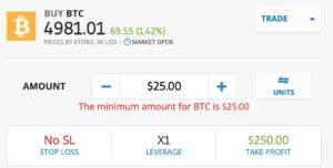 Place a Bitcoin trade with eToro
